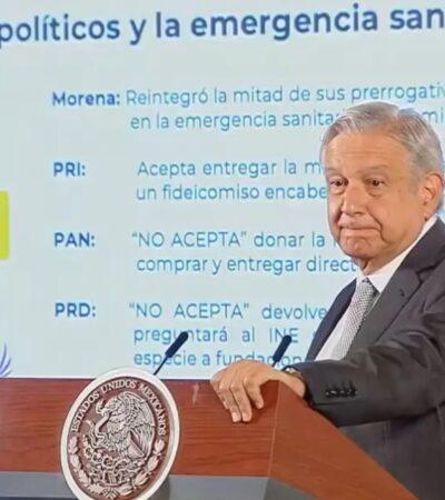 EL RETO AMLO: Solo Morena y PES aceptan donar mitad de su presupuesto para emergencia sanitaria