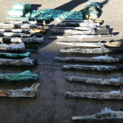 Decomisan en Sonora armas de grueso calibre ocultas en tracto-camión