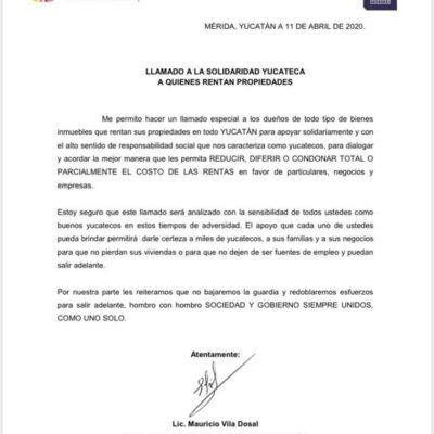 """Exhorta Mauricio Vila a yucatecos a """"perdonar"""" rentas durante contingencia sanitaria"""