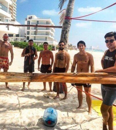 Balconean a diputado Gustavo Miranda por supuestamente no respetar aislamiento y hacer uso de las playas cerradas de Cancún en plena contingencia