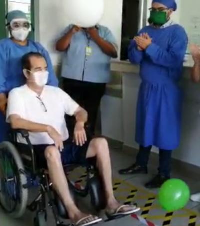Dan de alta a paciente extranjero recuperado de COVID-19 en hospital de Cancún, tras un mes de estar hospitalizado