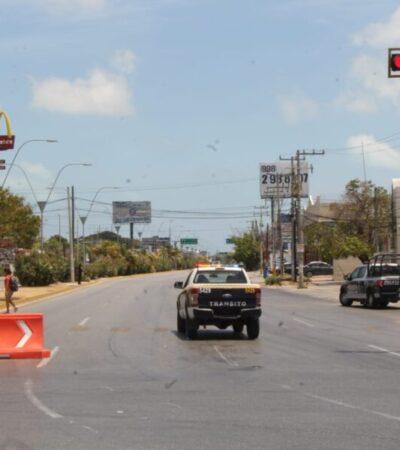 Cierre de avenidas deja vacía la 'glorieta del Albañil' en Cancún