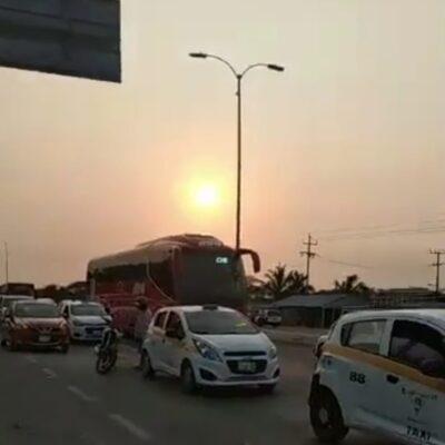 Genera caos vehicular la SSP al prohibir, sin previo aviso, la entrada y salida de automovilistas de Chetumal