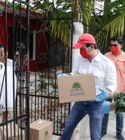 Entregan más de 14 mil despensas a familias de Cozumel por contingencia sanitaria