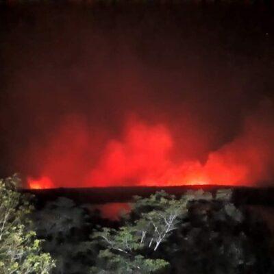 Piden ayuda de Conafor por avance de incendio forestal en la comunidad de X-Hazil Norte, en Felipe Carrillo Puerto