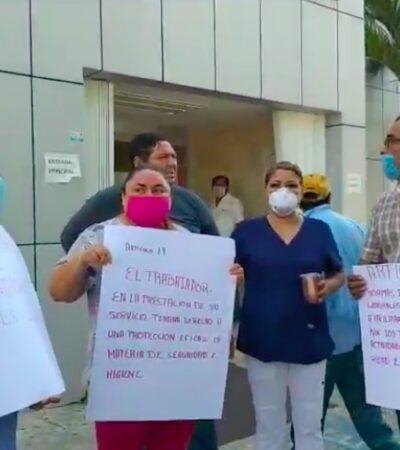 PROTESTAN TRABAJADORES DEL ISSSTE EN CANCÚN: Denuncian falta de equipo para enfrentar al COVID-19 y hostigamiento laboral por parte de directivos | VIDEOS