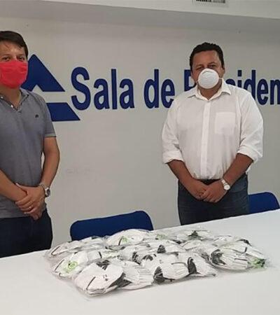 Dona Canaco 350 máscaras especiales para trabajadores del sector salud en Cozumel