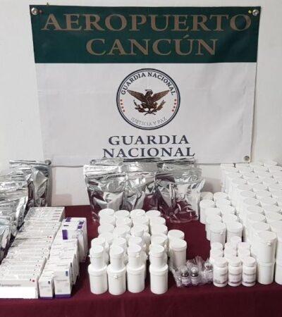 Incautan medicamento controlado y suplementos alimenticios en aeropuerto de Cancún