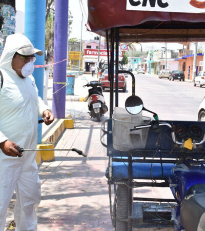 Sanitizan mototaxis en José María Morelos