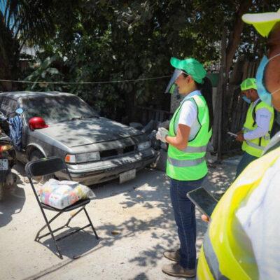 Laura Fernández reitera llamado a quedarse en casa durante entrega de apoyos alimentarios en Puerto Morelos