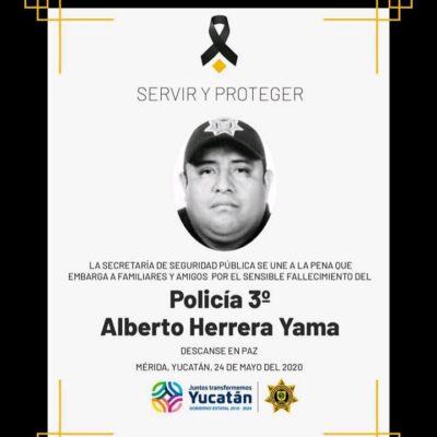 Muere otro policía por COVID-19 en Yucatán; van mil 536 casos positivos