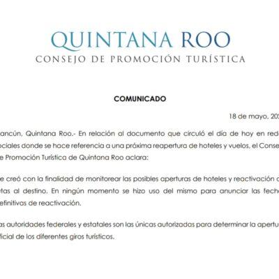 Confirma CPTQ que calendario de reaperturas de hoteles era documento interno preliminar