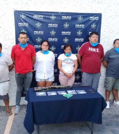 Detienen a seis con un fusil y drogas en Cancún