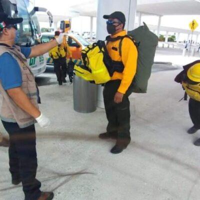 Arriban a QR brigadistas de Durango y Jalisco para ayudar a combatir los incendios forestales que afectan la entidad
