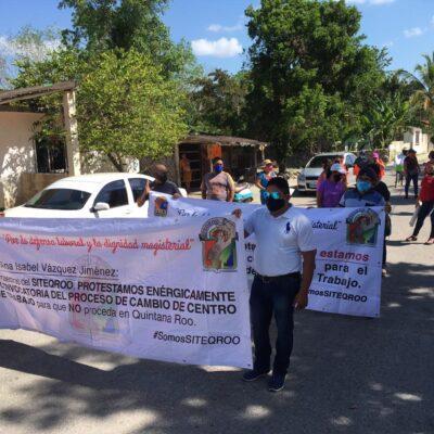 Maestros de Siteqroo salen nuevamente a las calles de Felipe Carrillo Puerto para exigir a la SEQ cambios en convocatoria