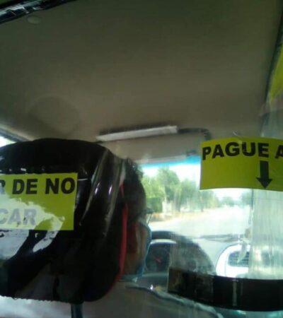 Taxista instala estructura aislante en su unidad para evitar contagio de COVID-19 en Chetumal