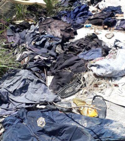 Aparecen uniformes de la Policía Quintana Roo abandonados en lote baldío de Chetumal