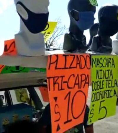 Venta de cubrebocas, una opción de cancunenses para generar dinero