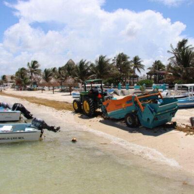 Instalan más de un kilómetro de barreras antisargazo en Puerto Morelos