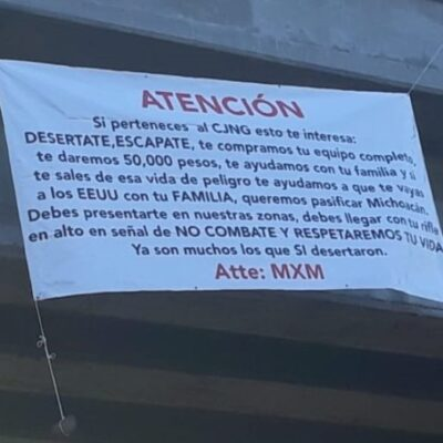Ofrecen 50 mil pesos por desertar del CJNG y ayuda para cruzar a Estados Unidos