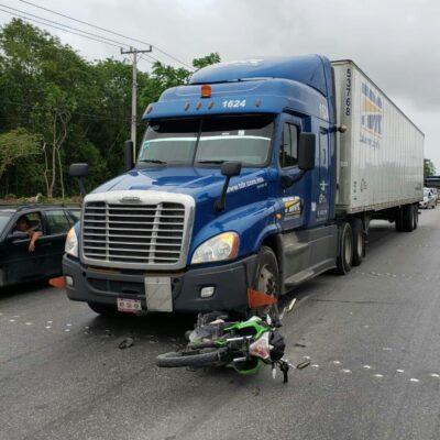 Atropella camión a motociclista en Cancún