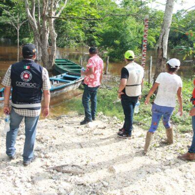 Suman 70 familias de la comunidad de La Unión las que abandonan sus casas por la crecida del Río Hondo