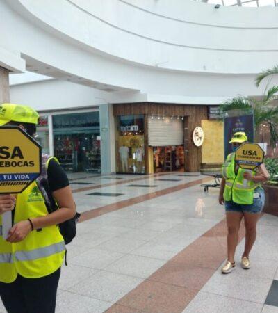 Mantienen plazas, supermercados y comercios estrictas medidas sanitarias en Cancún