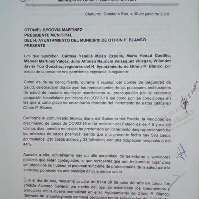 Piden regidores a Otoniel Segovia recapacitar y posponer 15 días el regreso presencial a labores en el Ayuntamiento por el alto riesgo de contagio en Chetumal