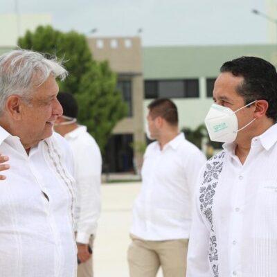 RESPALDA CARLOS JOAQUÍN INVERSIÓN DEL TREN MAYA: Califica Gobernador de productiva la gira de AMLO; tramo Cancún-Tulum es la joya de la corona, dice