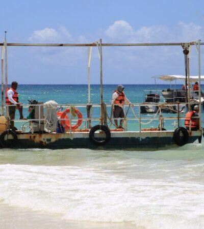 Inicia la recolección de sargazo con embarcaciones en Playa del Carmen