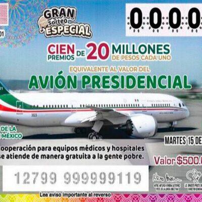 A dos meses del sorteo, faltan por vender 4 millones 645 mil cachitos del avión presidencial