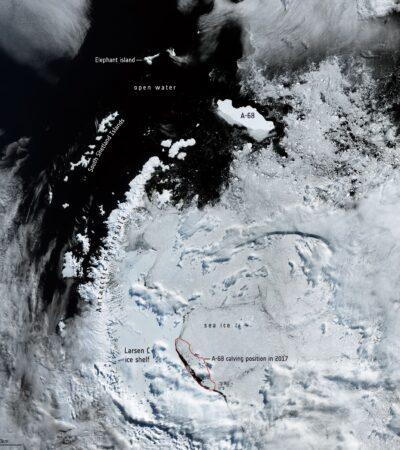 EN AGUAS TURBULENTAS PODRÍA SEGUIR DESINTEGRÁNDOSE: El iceberg gigante A-68, tres años después de su desprendimiento de la Antártida