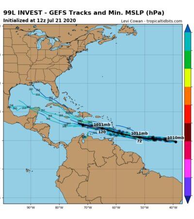 ALERTA POR POSIBLE CICLÓN EN EL ATLÁNTICO: Sistema de baja presión con 90% de evolucionar a fenómeno ciclónico y en ruta hacia el Caribe