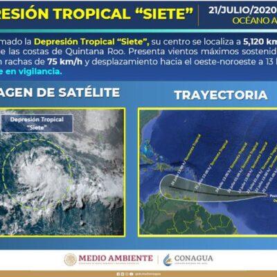 TEMPORAL EN RUTA HACIA EL CARIBE: Surge la Depresión Tropical 7 en el Atlántico
