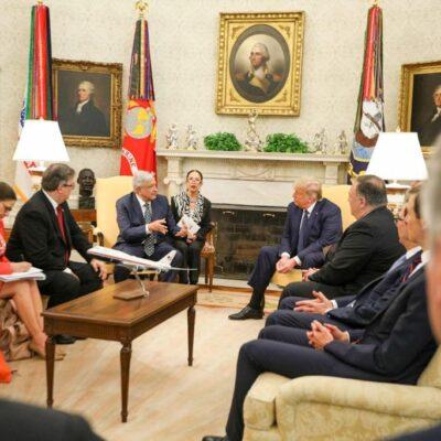 AMLO 'se salvó' del agresivo apretón de manos de Trump… ya está en la Casa Blanca