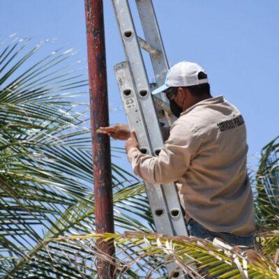 Rehabilitan luminarias de la Ventana al Mar de Puerto Morelos