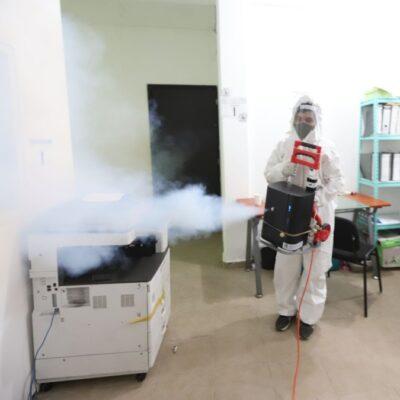 Intensifican saneamiento y desinfección de sitios públicos y oficinas de gobierno en Puerto Morelos