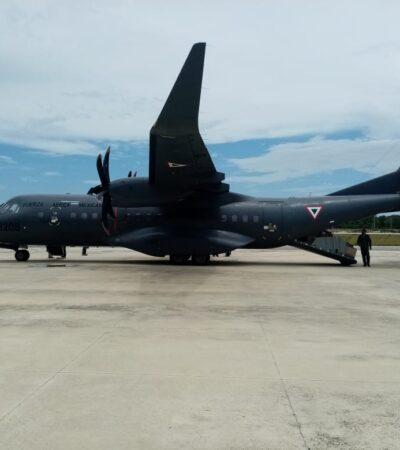 Ejército Mexicano envía avión a Chetumal con dos toneladas de insumos médicos