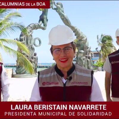 Ante críticas y balconeos ante el propio Obrador por las obras de la remodelación de la Quinta Avenida, Laura Beristain culpa a la 'BOA'