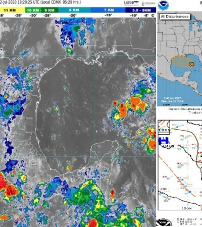 PRONÓSTICO DEL CLIMA: Prevén hoy chubascos aislados para norte y centro de Quintana Roo