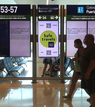 Aeropuerto de Cancún programó 192 vuelos, su mayor cifra desde el inicio de la pandemia