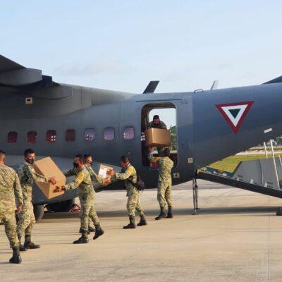 Aterriza en Chetumal avión militar con más ayuda médica para enfrentar COVID-19
