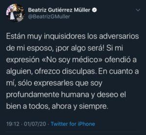 """""""ESTÁN MUY INQUISIDORES LOS ADVERSARIOS DE MI ESPOSO"""": Se disculpa Beatriz Gutiérrez Müller por polémico tuit y dice que """"soy profundamente humana"""""""