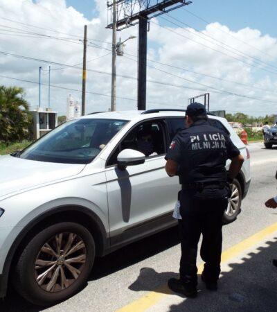 Mientras Laura Beristain anda en la fiesta, policías refuerzan filtros de seguridad sanitaria contra la COVID-19