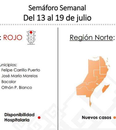 PONEN EN ROJO AL SUR DE QR: Retroceden 4 municipios en el semáforo epidemiológico por alta incidencia de COVID-19