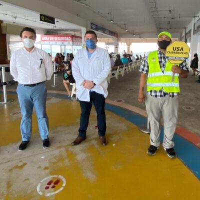 Supervisa Pedro Joaquín que se cumplan los protocolos sanitarios en el muelle fiscal de Playa del Carmen
