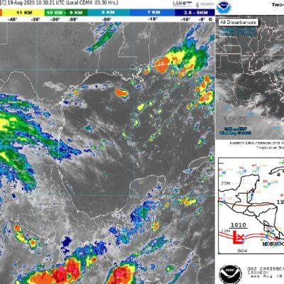 AÚN NO REPRESENTAN RIESGO PARA QR SISTEMAS DE BAJA PRESIÓN: Prevén tiempo caluroso con cielo nublado para el Caribe Mexicano