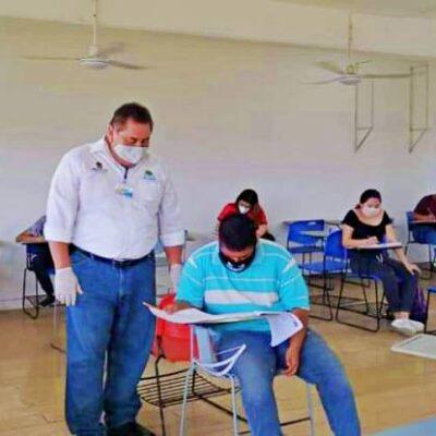 NUEVA NORMALIDAD: Con medidas sanitarias, se realiza el primer día de examen de conocimiento para aspirantes a educación media superior