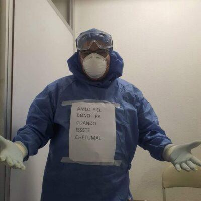 """""""AMLO Y EL BONO PA'CUANDO"""": Personal de salud del ISSSTE Chetumal pregunta por el apoyo prometido por el Presidente Obrador por la pandemia"""