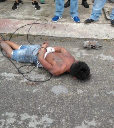 Vecinos golpean y amarran a presunto asaltante en la Región 215 de Cancún